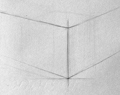 Рисунок удаляющихся линий куба