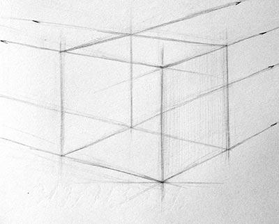 Построение дальних невидимых линий куба