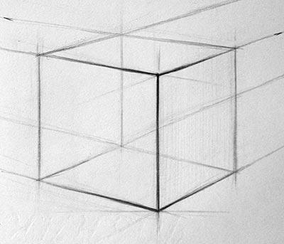 Рисунок куба, выделение ближних линий