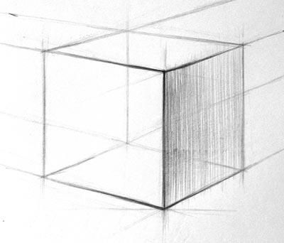 Рисунок куба, начальный этап штриховки