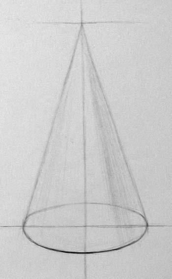 Рисунок конуса. Завершающий этап линейного рисунка