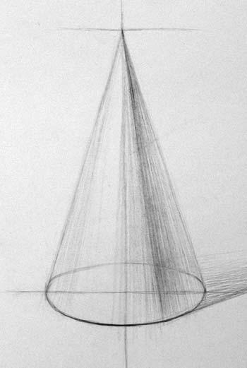 Рисование конуса. Начало работы над объёмной формой